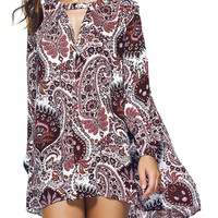 Bohemian Paisley Print Keyhole Loose Asymmetric  Dress
