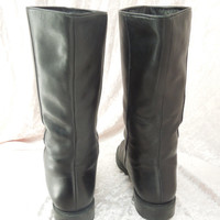 Leather Boots Black Mid Calf Riding Boots Size 7 1/2 Made in Brazil