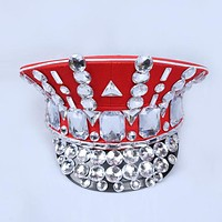 Burning Man Captain Military Rhinestone Hats