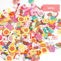 Hot 50/300pcs DIY Slime Accessories Decoration Fruit Cake Polymer Clay Flower Ornament Gift For Baby