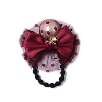 Ribbon and pearl ponytail holder, Redwine color, hair accessory, gold plated crown cubic, bun holder