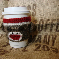 Sock Monkey coffee or tea to go drink cup cozy by HanksDesign