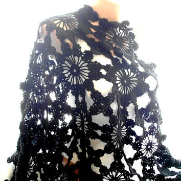 black shawl, handmade shawl, crochet shawl, soft black shawl, lace shawl, shawl wraps, accessories