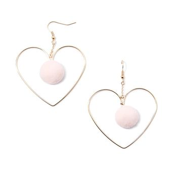 Pom Pom Heart Earrings