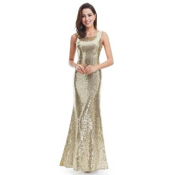 Gold Long Evening Dress Ever Pretty Back Cowl Neck Shine Sequin Sparkle Elegant Women Evening Party Gown