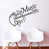 Wall Decal Musical Instrument Guitar Vinyl Sticker Decals Recording Studio Music Home Decor Bedroom Art Design Interior NS411