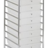 ECR4Kids 10-Drawer Mobile Organizer, White