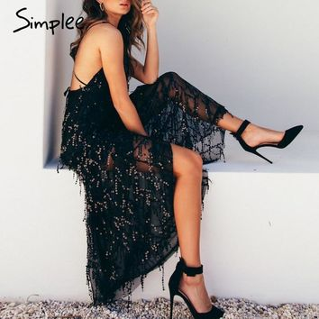Simplee Sexy sequin lace mesh women long dress