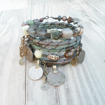 Silk Road Gypsy Bangle Set - 7 Piece, Mossy Driftwood, Bohemian Tribal Bracelets, Silk Wrapped and Beaded