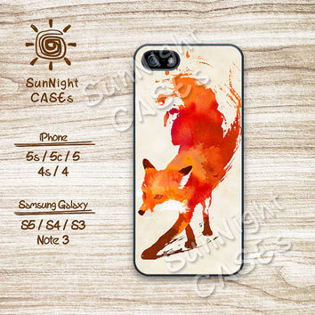 Watercolor Fox, iPhone 5 case, iPhone 5C Case, iPhone 5S case, iPhone 4S Case, Disney, Phone Cases, Samsung Galaxy S3, Samsung Galaxy S4
