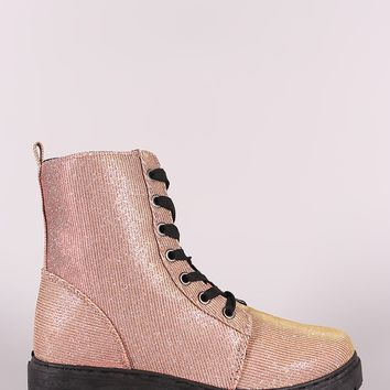 Qupid Glitter Combat Lace-Up Ankle Boots