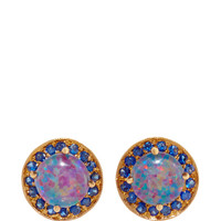 Australian Opal Studs with Blue Sapphires Earrings