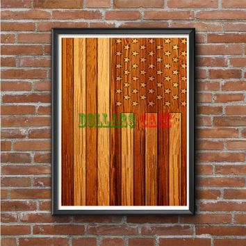 American Flag Wood Photo Poster