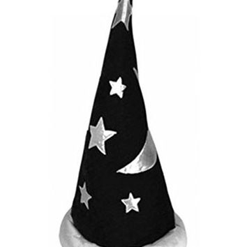 Mens Womens Child Black Renaissance Merlin Wizard Toy Party Costume Pointed Hat
