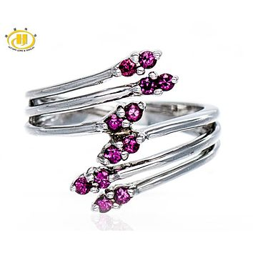 Hutang By Pass Ring 925 Sterling Silver Natural Rhodolite Garnet Gemstone Rings Fine Jewelry Women's Gift