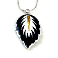 Broken China Jewelry Necklace, China Necklace, Feather Necklace, Feather Jewelry, Black and White, Birthday Gift for Her
