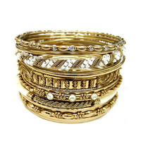 Gold White Seed Bead With Bone Stacked Bangles Set Of 16Pcs