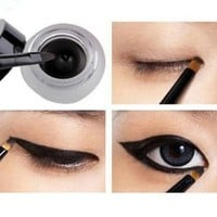 obmwang New Waterproof Eye Liner Eyeliner Shadow Gel Makeup Cosmetic + Brush Black