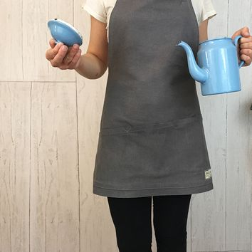 The Minimalist Apron - Soft, Grey Denim Apron with Pockets