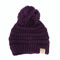 C.C. Beanie Cable Knit Beanie with Pompom for Kids in Purple YJ847POM-PURPLE