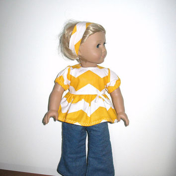 Doll Clothes for American Girl 18 Inch Like Dolls, Yellow Chevron Print Babydoll Shirt and Jeans Outfit