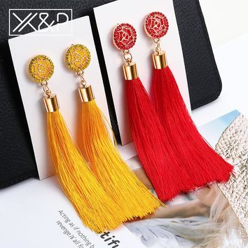 X&P Fashion Bohemian Crystal Tassel Earrings Black White Blue Red Silk Fabric Long Drop Dangle Tassel Earrings For Women Jewelry