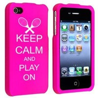 Apple iPhone 4 4S Hot Pink Rubber Hard Case Snap on 2 piece Keep Calm and Play On Tennis