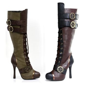 """4"""" Knee High Steampunk Boot With Laces. Women"""