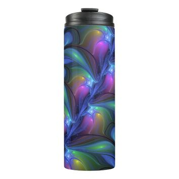 Colorful Luminous Abstract Blue Pink Green Fractal Thermal Tumbler