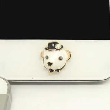 1PC Bling Crystal Cute Dog Lover Alloy Cell Phone Home Button Sticker Charm for iPhone 4s,4g,5,5c Valentine Gift