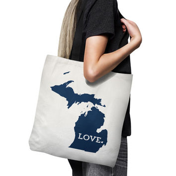 Michigan Tote Bag // Unique Gift Idea // Home State Love // white canvas tote with black inside and handle