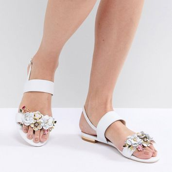 Dune Two Part Flat Leather Sandal in White with Flower Embellishment at asos.com