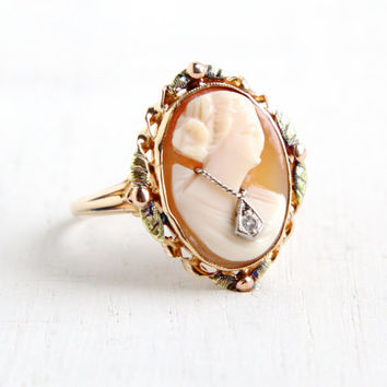 Antique 10k Yellow & Rose Gold Diamond Cameo Ring - Size 7 1/2 Vintage 1930s Art Deco Habillé Carved Shell Fine Jewelry Hallmarked BDA