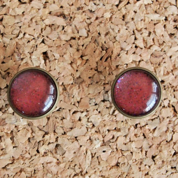 Handmade Polish Jewelry - nail lacquer post earrings unique burgundy colorful glitter studs cute bronze FREE shipping to USA