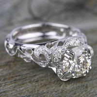 Vintage Floral Halo Diamond Engagement Ring in White Gold by Parade