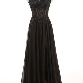 Black Chiffon V Neck Prom Dress Scoop Floor Length Prom Dresses Party Dress