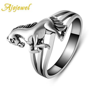 Ajojewel New fashion jewelry Brand Design Animal Jewelry High Quality Horse Rings Retro For Women 2017