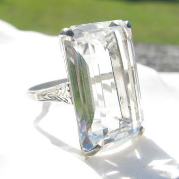 Vintage Rock Crystal Ring, Huge Emerald Cut Quartz Crystal, Beautiful Silver Setting, Engraved Art Deco Style Shoulders, Japan, Mid Century