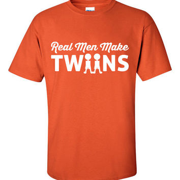 Real Men Make Twins New Baby Pregnant Proud Father New Dad Fathers Days T-Shirt Tee Shirt T Mens Ladies Womens Youth Kids Funny TH-035