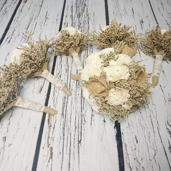 Bridal flowers package MEDIUM bridal 5 small bridesmaids BOUQUETS Ivory cream rustic pearls dried limonium Burlap lace Flower girl toss