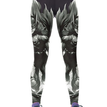 Black Cartoon Batman Printed Breathable Slim Jeggings