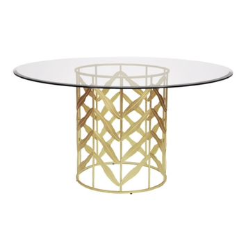 Worlds Away Redding Leaf Motif Glass Top Table