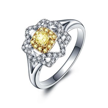 18K Gold And White Gold Group Set Marriage Engagement Yellow Diamond Ring Female Models 1 Carat Color Diamond Ring Genuine