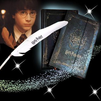 Stationery Set For Potterhead Vintage Harry Potter Book Notebook Feather Pen Hard Cover Retro Magic Diary Magnet Magical Gift 01