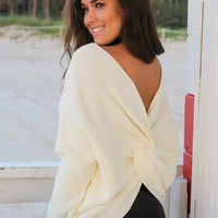 Ivory Knit Sweater with Knot Detail