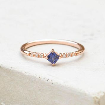 Diamond Shaped Ring   Rose Gold + Sapphire