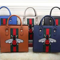 CREYKG5 Gucci Women Bee Embroidery Leather Tote Handbag Satchel Crossbody Set Two-Piece