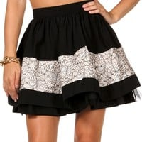 Sale Pretty Lace Insert Skater Skirt