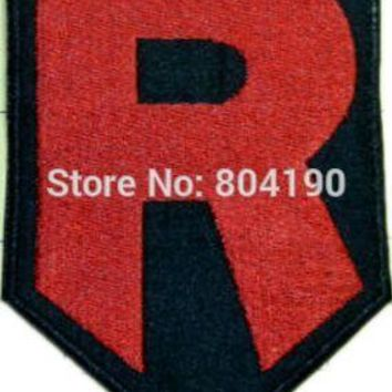 "4"" Team Rocket R  logo Iron On Patch HOT Pocket  Embroidered Emblem applique Costume Cosplay TeamKawaii Pokemon go  AT_89_9"