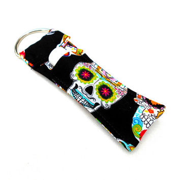 Sugar Skulls Chapstick Keychain - Dios de los Muertos Day of the Dead Sugar Skulls Lip Balm Holder Cozy